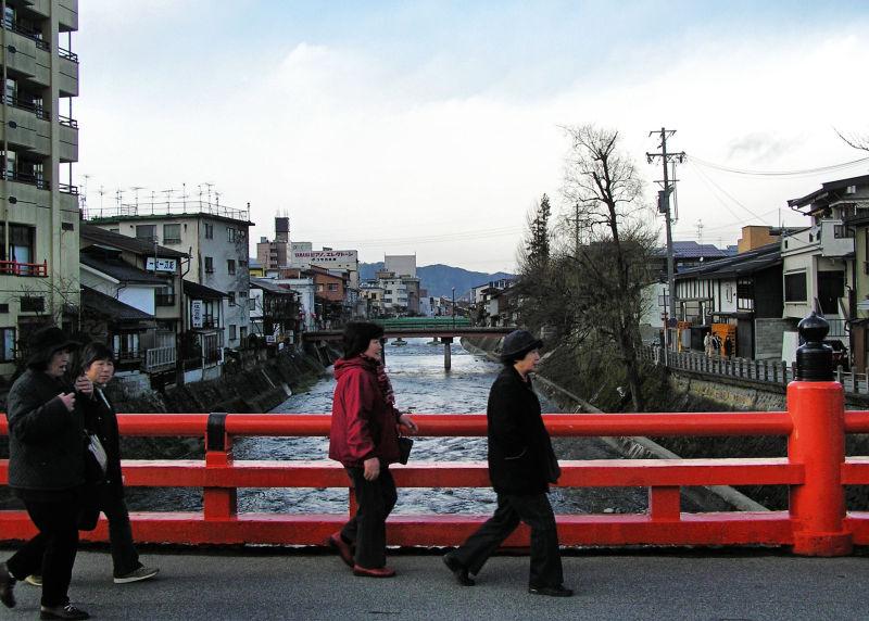 Hida Takayama bridge river tourist Gifu Japan