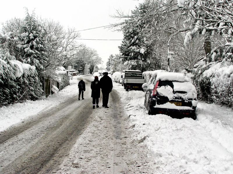 Farnham England snow car street neighbourhood