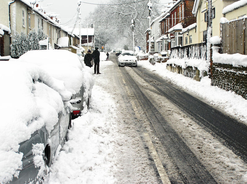 Farnham England snow car street neighbourhood
