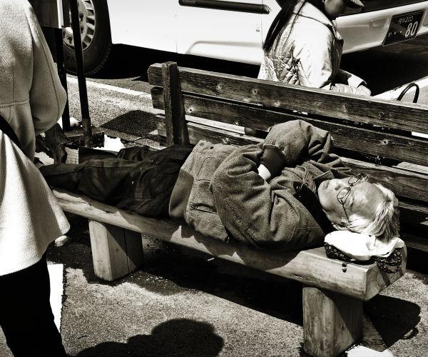 Shirakawa-go Hida Gifu Japan sleeping tourist