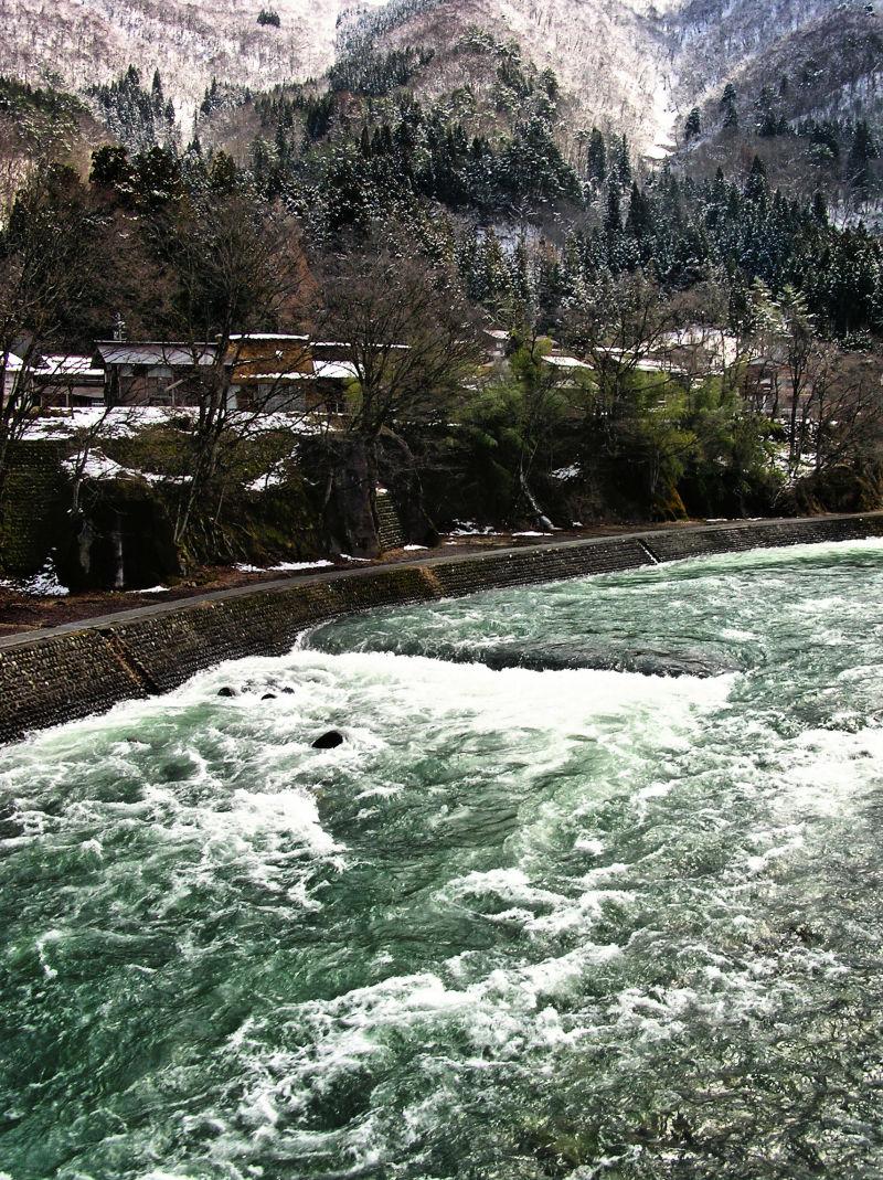 Shirakawa-go Hida Gifu Japan mountain snow river