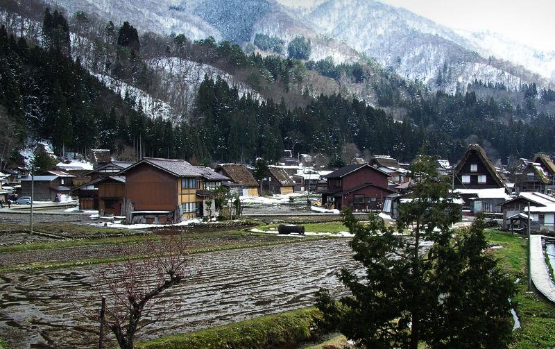 Shirakawa-go Hida Gifu Japan mountain snow farm