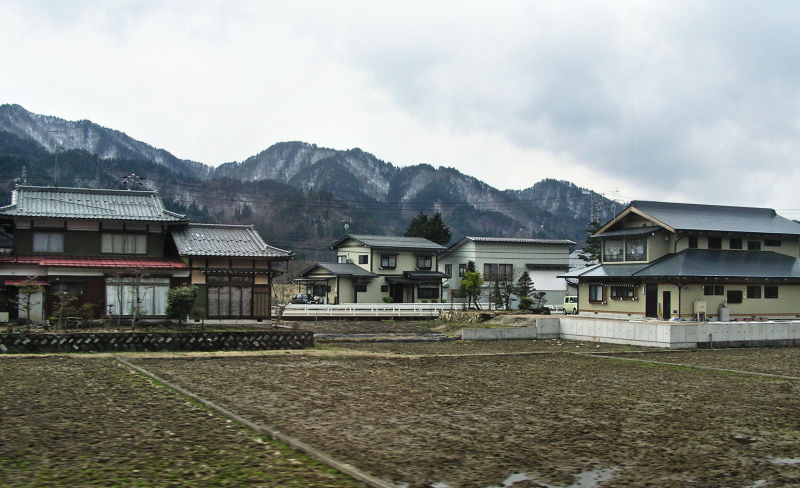 Hida Takayama rice-field house suburb Gifu Japan