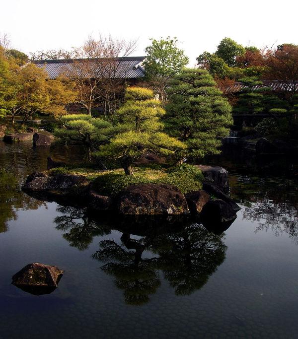 Kokoen garden Himeji Hyogo Japan tree pond rock