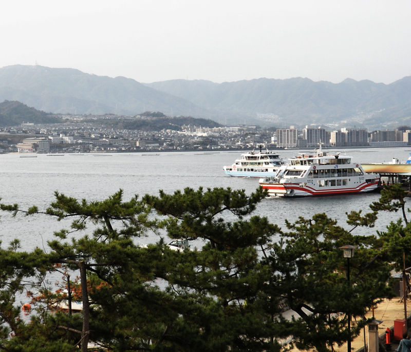 hiroshima japan sea hill island miyajima ferry