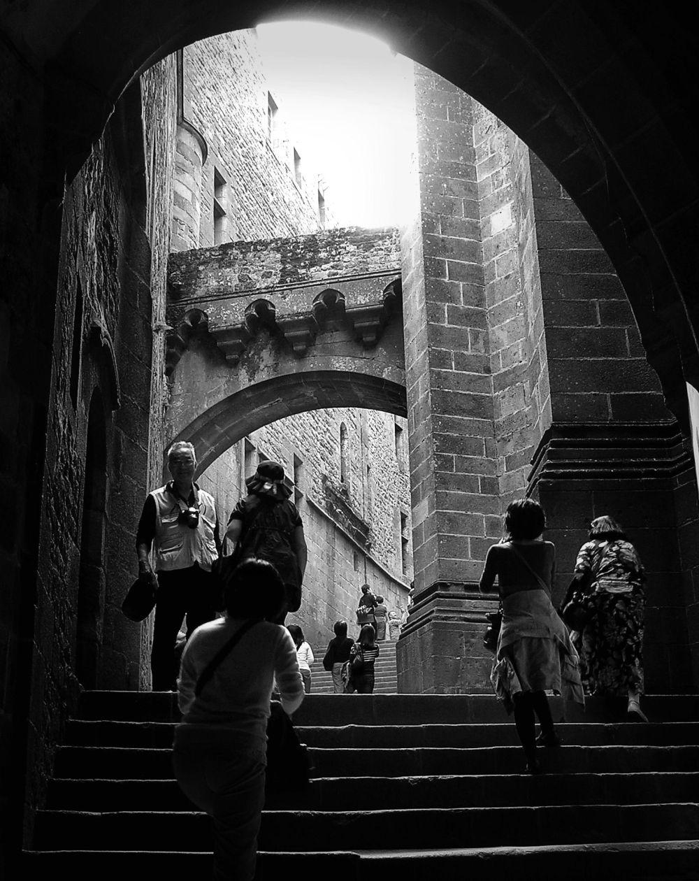 france normandy mont-saint-michel tourist steps