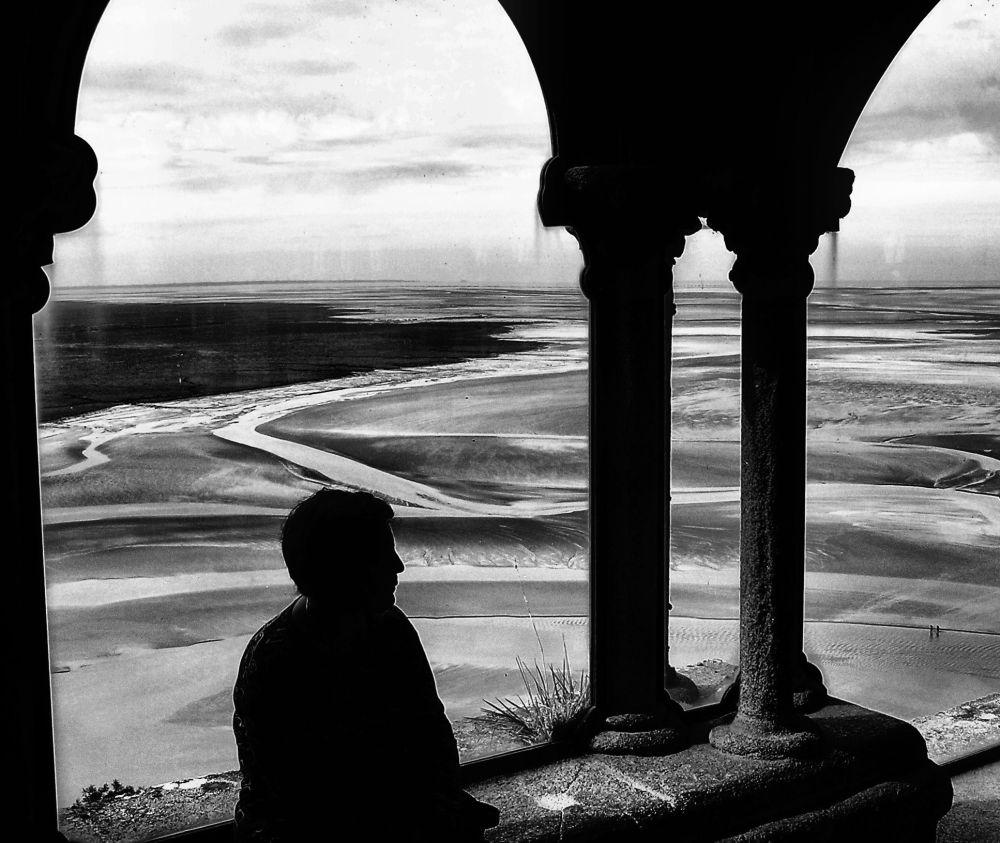 france normandy mont-saint-michel cloister mudflat