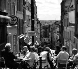paris france street cafe montmartre tourist