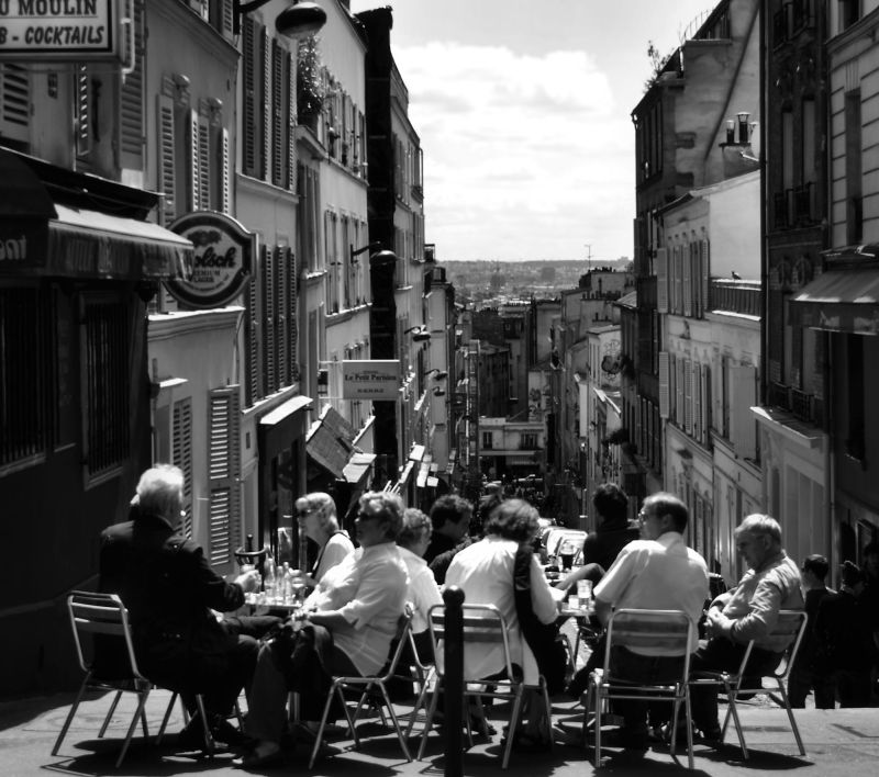 paris france street cafe montmartre tourist