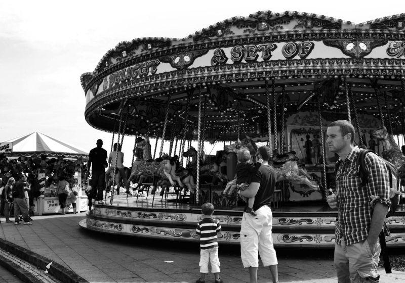 brighton england seaside tourist merry-go-round