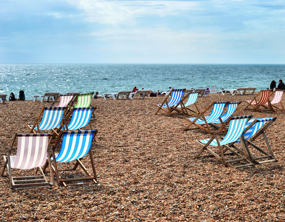brighton england sea seaside beach deckchair