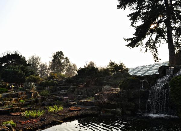 kew-gardens england garden pond waterfall