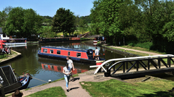 foxton-locks leicester england canal barge lock