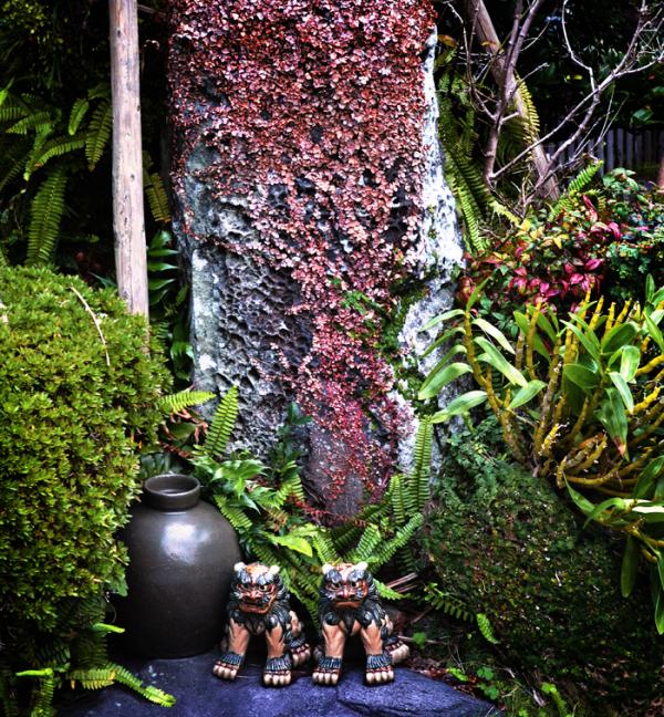 kagoshima ibusuki kyushu japan ryokan garden statu