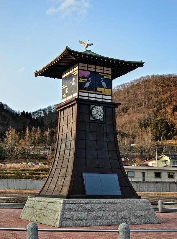 yunogo onsen clock tower japan okayama