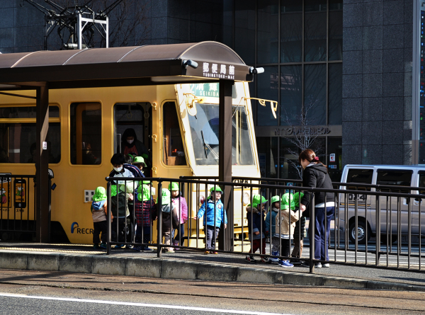 okayama city japan tram children