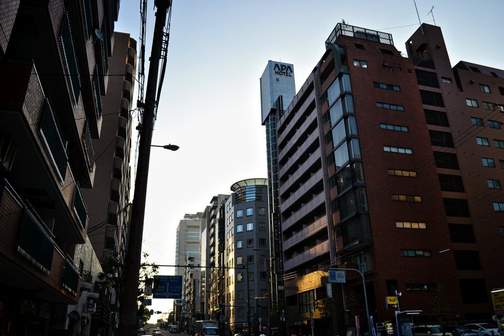 osaka japan street building sunset