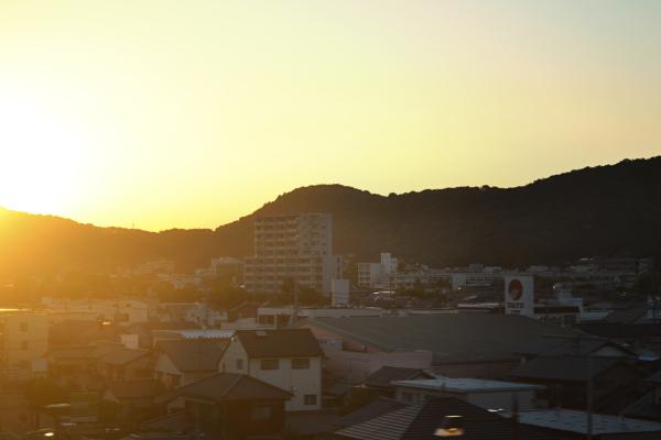 sunset train okayama japan