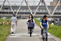 osaka umeda japan yodogawa bicycle family