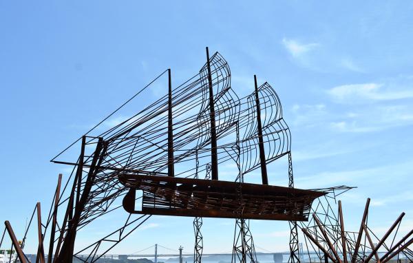 shikoku japan seto-naikai sculpture ship honjima