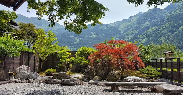 tokushima shikoku japan onsen garden mountain
