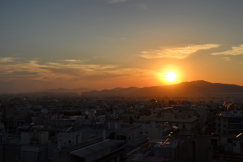 athens greece city sunset