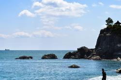 beach shrine sea kochi katsurahama japan shikoku