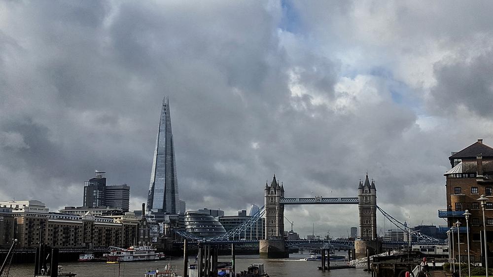 london england river thames tower-bridge shard