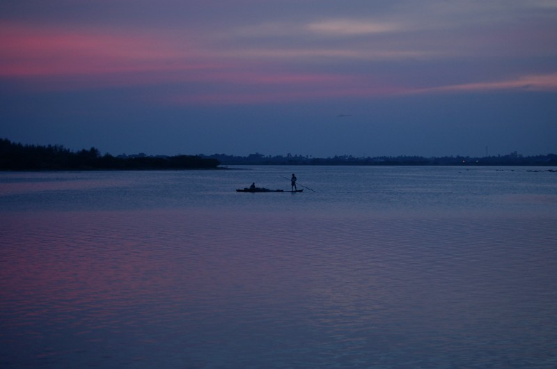 Fisherman at the twilight moment
