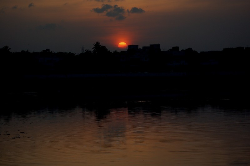 Sun sets across Adyar zone