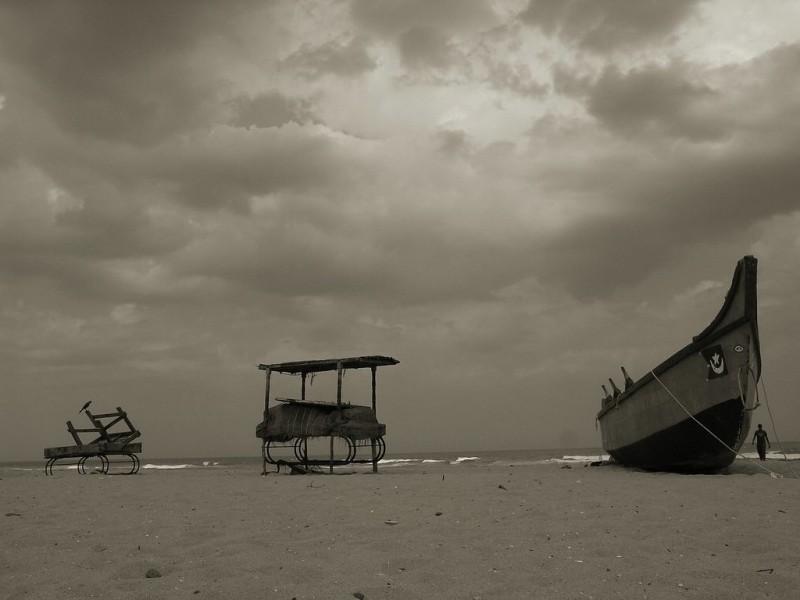 Gloomy day on the beach
