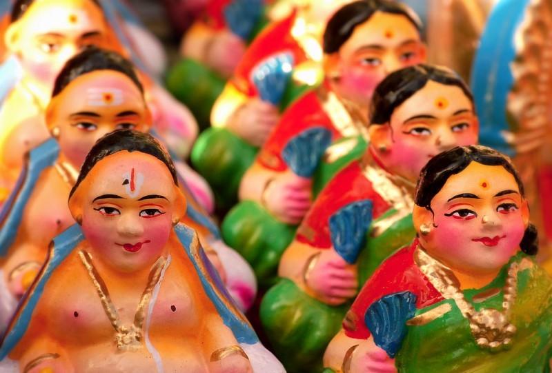 Dusherra dolls on a row
