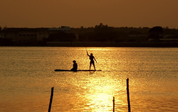 Fishing on the glittering waters of Muttukad