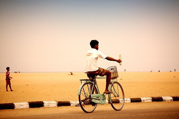 Cycling along the beach road!