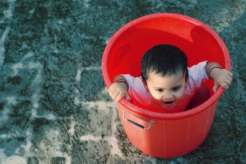 Mischief inside the bucket!