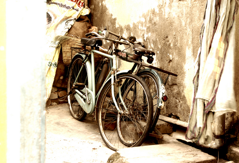 Cycles at rest on a sunny day