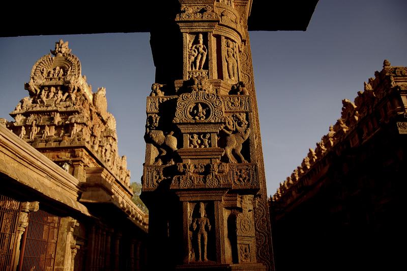 Intricate Cholan art on Pillars of Darasuram!