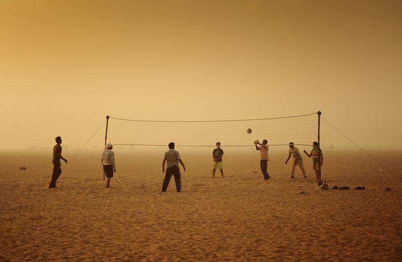 Volley ball on a smoggy morning!