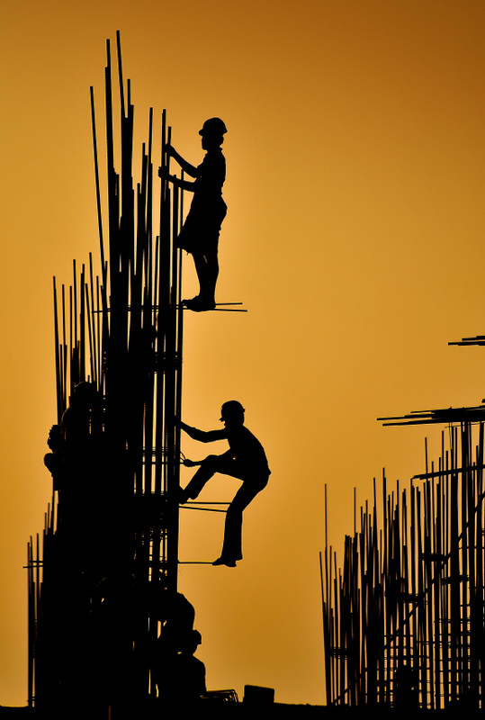 Evening at a construction site