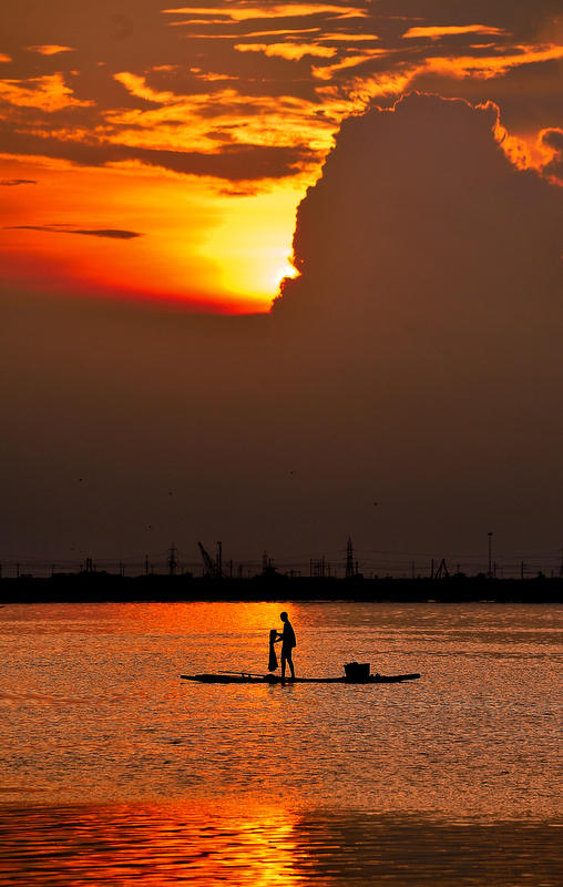 On the raft at sunset...