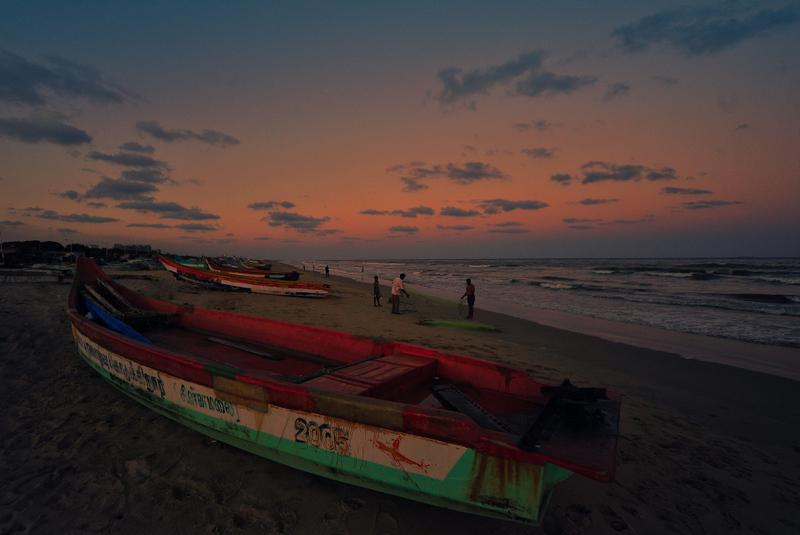Evening fishers of Besant Nagar Beach
