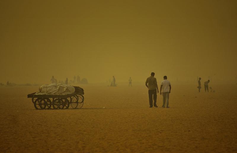 Walking across the smog!