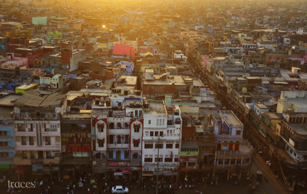 Aerial view of Chandni Chowk