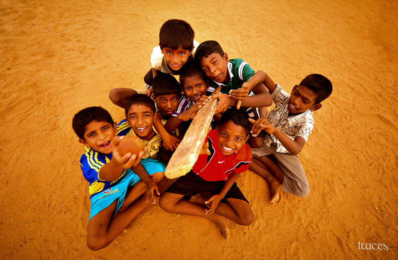 The young bunch of beach cricketers