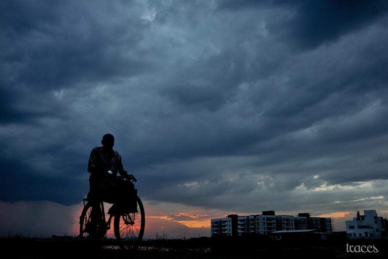 Cycling along the swamp at sunset!