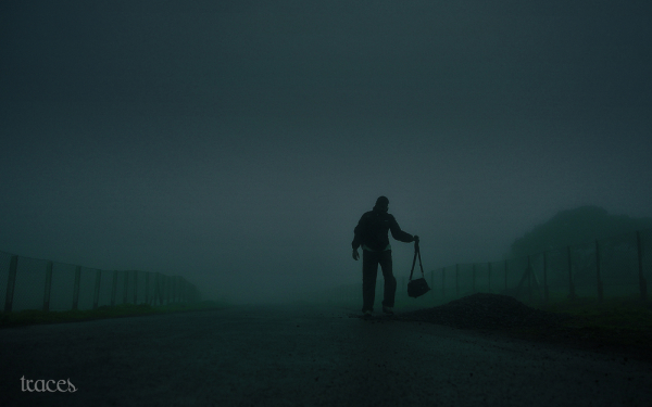 Alone in the noir-ish mist!