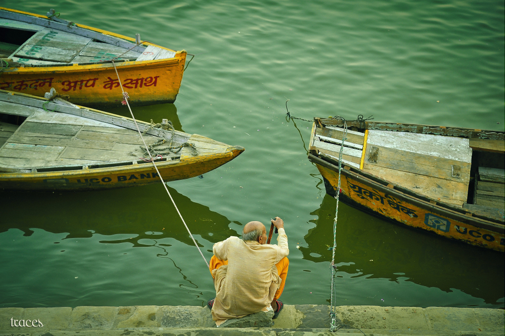 Waiting for his boat