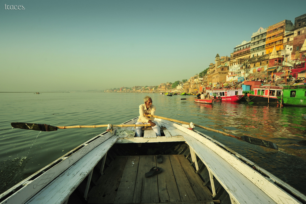 Rowing towards Ahaliyabhai Ghats