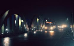Rainy night at the bridge