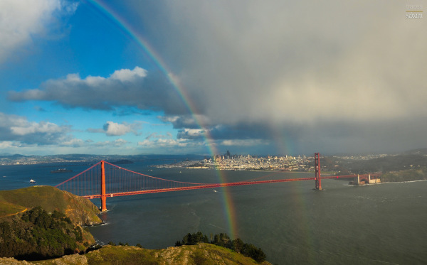 Double rainbow across the Golden Gate